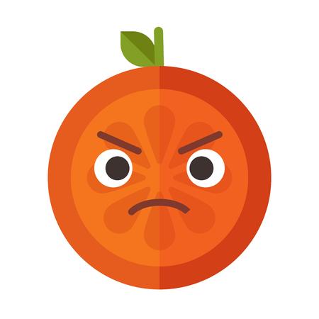 Angry face emoji. Angry orange fruit emoji. Vector flat design emoticon icon isolated on white background. Illustration