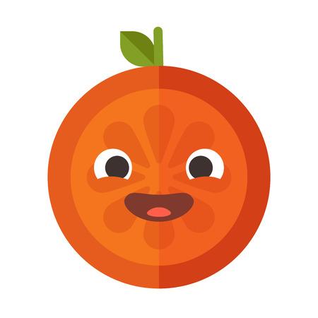 Laugh emoji. Laughing orange fruit emoji. Vector flat design emoticon icon isolated on white background.  イラスト・ベクター素材