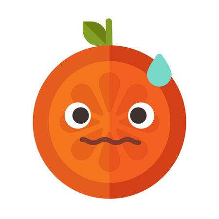 Worry emoji. Worrying orange fruit emoji with drop of sweat. Vector flat design emoticon icon isolated on white background. Illustration