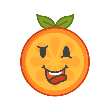 Crazy orange emoji. Crazy orange fruit emoji. Vector flat design emoticon icon isolated on white background.