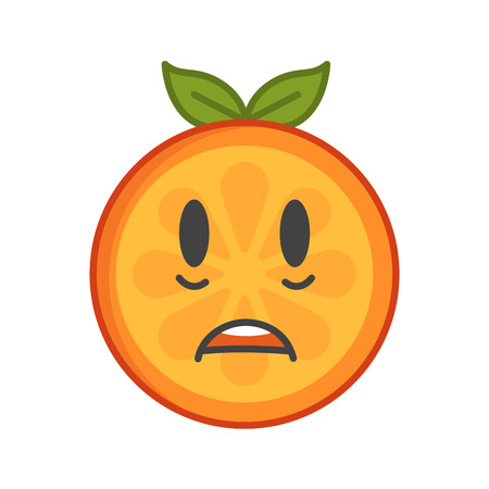 commotion: Shock emoji. Smiley orange fruit emoji. Vector flat design emoticon icon isolated on white background.