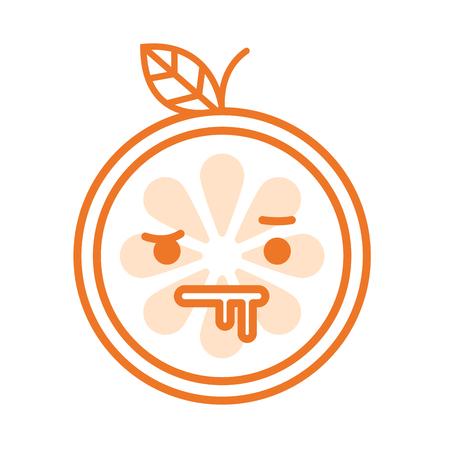 lunatic: Crazy orange emoji. Crazy orange fruit emoji. Vector flat design emoticon icon isolated on white background.