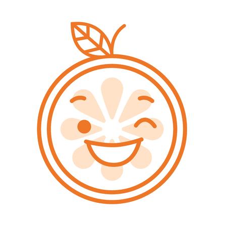 Wink emoji. Winking smiley orange fruit emoji. Vector flat design emoticon icon isolated on white background. Illustration