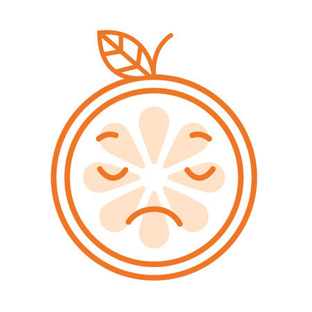 mournful: Sad emoji. Sad despondent orange fruit emoji feeling like crying. Vector flat design emoticon icon isolated on white background.