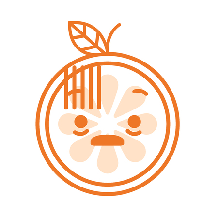 convulsión: Emoji de choque. Emoji de fruta naranja sonriente. Icono de diseño plano de emoticon plano aislado sobre fondo blanco.