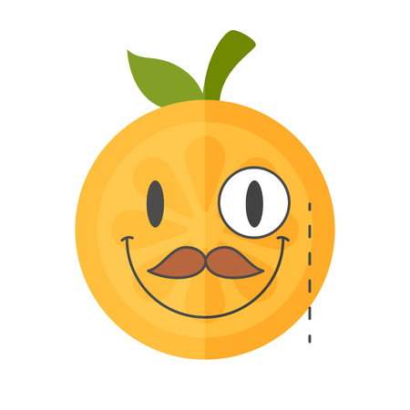 Gentleman smile emoji. Smiley orange fruit emoji with mustache and monocle. Vector flat design emoticon icon isolated on white background.