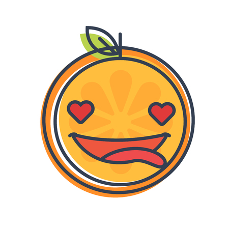 behavior: In love emoji. In love orange fruit emoji with the hearts instead of the eyes. Vector flat design emoticon icon isolated on white background.