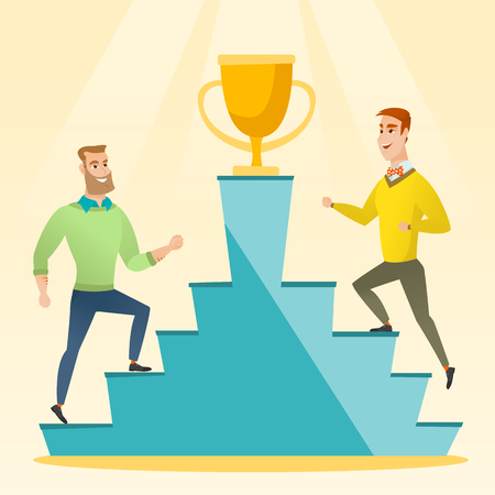 Two caucasian business men competing to get golden trophy. Two competitive business men running up for the winner cup. Business competition concept. Vector flat design illustration. Square layout.