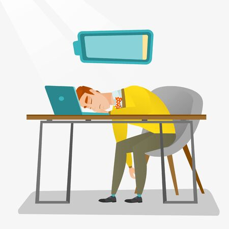 Overworked young employee sleeping at workplace. Exhausted businessman sleeping in office. Vector flat design illustration. Square layout. Illustration