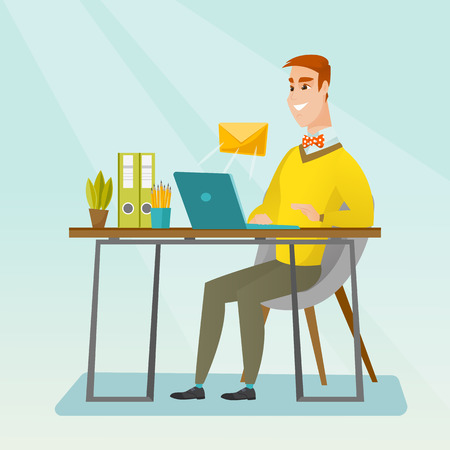 recieve: Businessman receiving email. Businessman sending email. Business technology, email concept. Vector flat design illustration. Square layout.