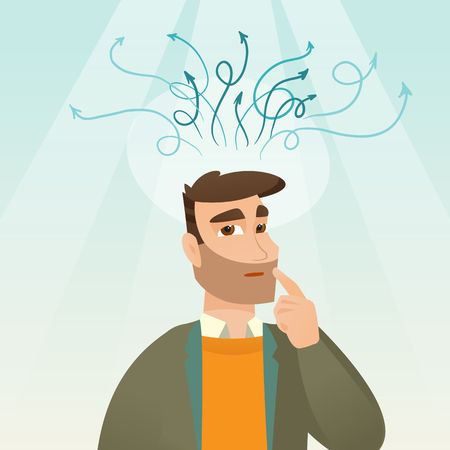 Businessman looking up and thinking. Business thinking and idea concept. Vector flat design illustration. Square layout.