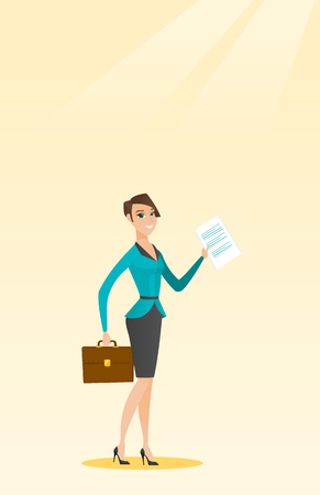 legal contract: Caucasian business woman carrying a briefcase and showing a document. Full length of young happy business woman with briefcase and a document in hands. Vector flat design illustration. Vertical layout