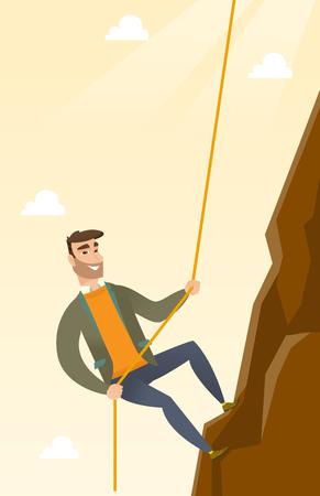 Caucasian businessman climbing on the rock. Young brave businessman climbing on the top of the mountain using rope.