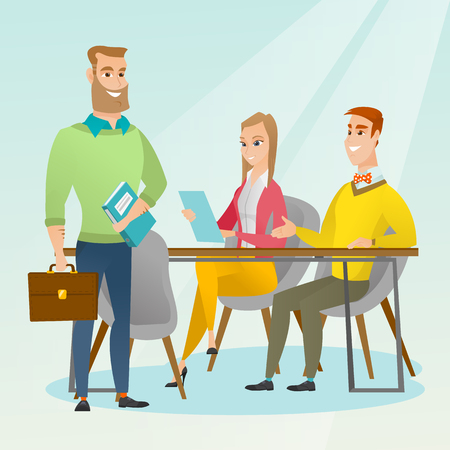 Caucasian business partners working in office. Young business partners discussing legal documents in office. Business partnership and teamwork concept. Vector flat design illustration. Square layout. Illustration