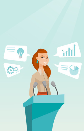 Caucasian happy speaker giving speech at podium with microphones at business conference. Smilig speaker giving a speech at podium at business seminar. Vector flat design illustration. Vertical layout. Ilustração