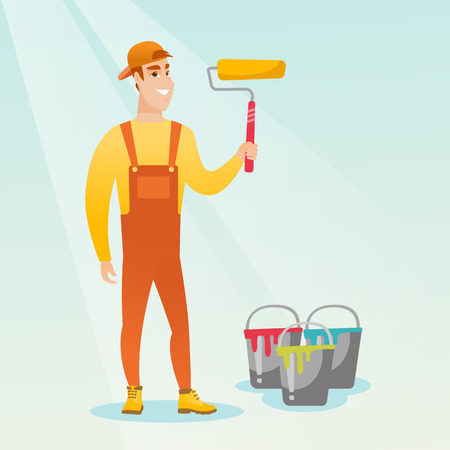 Caucasian smiling painter in uniform holding paint roller in hands. Young cheerful house painter at work. Happy male painter standing near paint cans. Vector flat design illustration. Square layout.