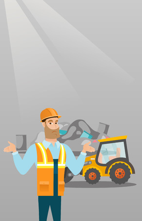 dumping: Worker of rubbish dump standing with spread arms.