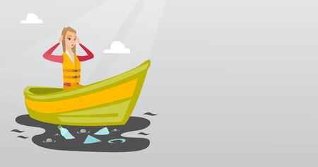 Sanitation worker working on boat to catch garbage out of water. Illustration
