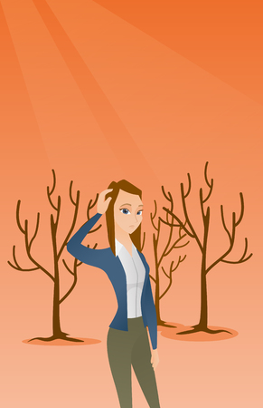 Woman scratching head in dead forest. Illustration