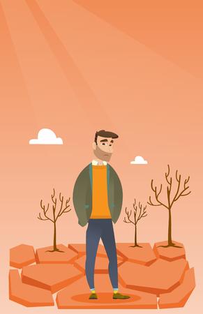 dead tree: Caucasian man standing in the desert.