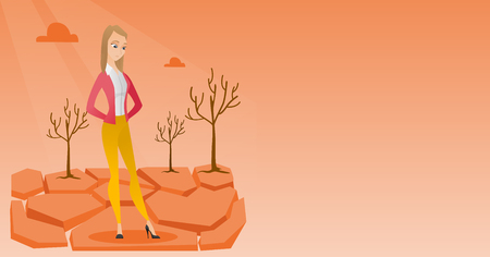 Caucasian woman standing in the desert. Illustration