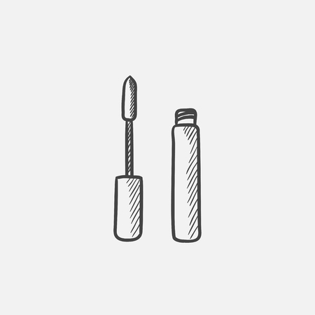 Mascara sketch icon for web, mobile and infographics. Hand drawn vector isolated icon. Illustration
