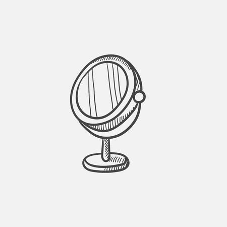 Runde Make-upspiegelskizzenikone für Netz, Mobile und infographics. Hand gezeichneter Vektor lokalisierte Ikone. Standard-Bild - 84138002