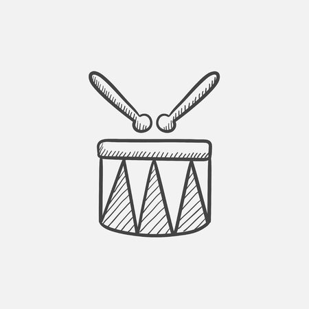 knocking: Circus drum sketch icon for web, mobile and infographics. Hand drawn vector isolated icon.