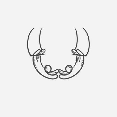 Aerialists sketch icon for web, mobile and infographics. Hand drawn vector isolated icon.
