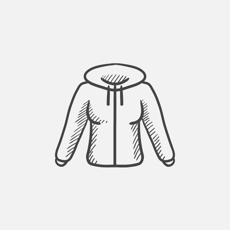 sleeve: Hoodie sketch icon for web, mobile and infographics. Hand drawn vector isolated icon.