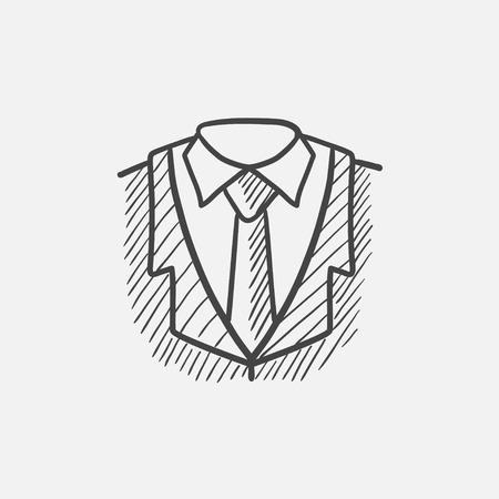 웹, 모바일 및 infographics 남성 정장 스케치 아이콘. 손으로 그려진 된 벡터 격리 아이콘입니다. 일러스트