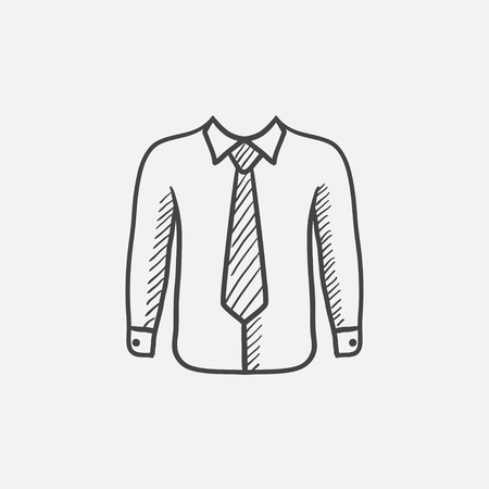 Shirt with tie sketch icon for web, mobile and infographics. Hand drawn vector isolated icon.