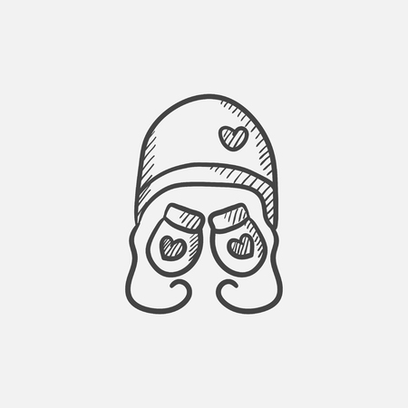 Hat and mittens for children sketch icon for web, mobile and infographics. Hand drawn vector isolated icon.