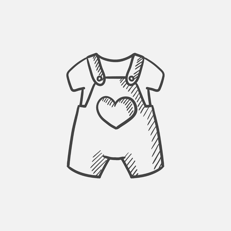 Baby overalls and shirt sketch icon for web, mobile and infographics. Hand drawn vector isolated icon.  イラスト・ベクター素材
