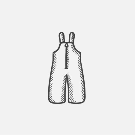 Baby winter overalls sketch icon for web, mobile and infographics. Hand drawn vector isolated icon. Illustration