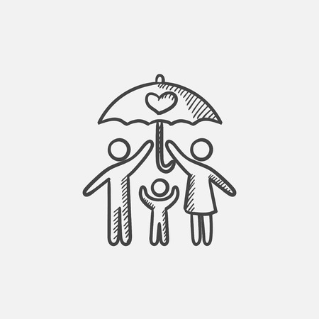 Family under umbrella  sketch icon for web, mobile and infographics. Hand drawn vector isolated icon. Illustration