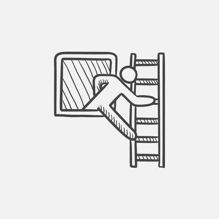Man leaving the building through the window and coming down the stairs sketch icon for web, mobile and infographics. Hand drawn vector isolated icon.