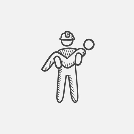 Fireman holding person on hands sketch icon for web, mobile and infographics. Hand drawn vector isolated icon.