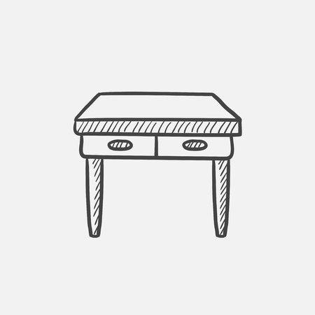 comfortable: Table with drawers sketch icon for web, mobile and infographics. Hand drawn vector isolated icon.