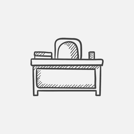 comfort classroom: Desk and chair sketch icon for web, mobile and infographics. Hand drawn vector isolated icon.