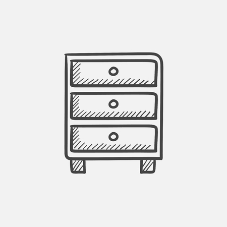 bedside: Chest of drawers sketch icon for web, mobile and infographics. Hand drawn vector isolated icon.