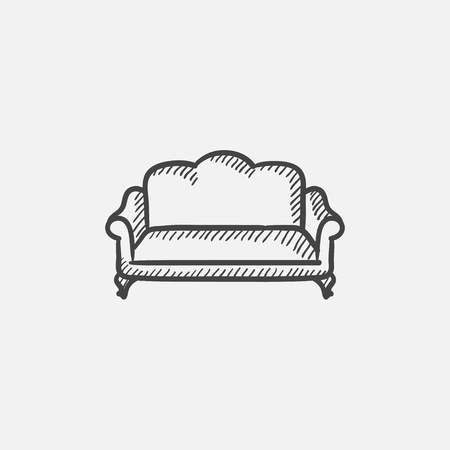 couch: Sofa sketch icon for web, mobile and infographics. Hand drawn vector isolated icon.