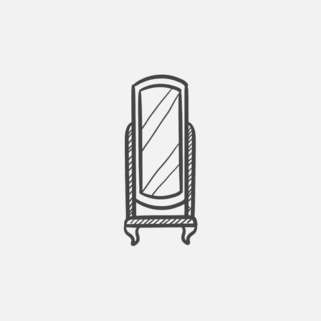 Swivel mirror on stand sketch icon for web, mobile and infographics. Hand drawn vector isolated icon.