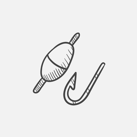 fisheries: Fishing hook with bobber sketch icon for web, mobile and infographics. Hand drawn vector isolated icon. Illustration