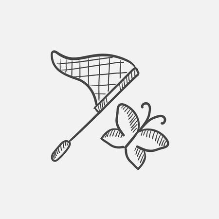 Butterfly and net sketch icon for web, mobile and infographics. Hand drawn vector isolated icon.