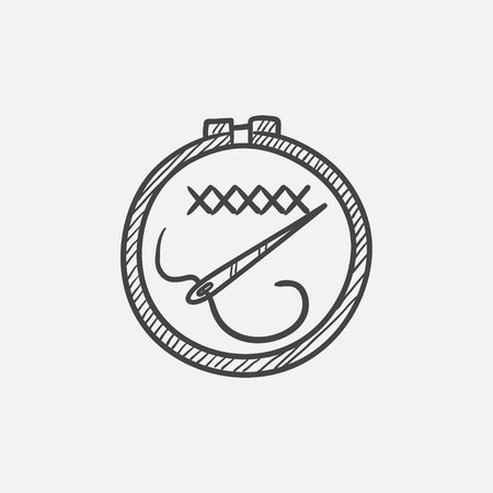 Embroidery sketch icon for web, mobile and infographics. Hand drawn vector isolated icon.