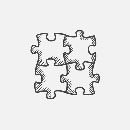 Puzzle sketch icon for web, mobile and infographics. Hand drawn vector isolated icon. Illustration