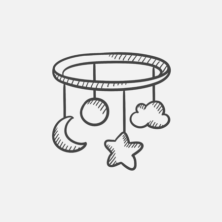 Baby bed carousel sketch icon for web, mobile and infographics. Hand drawn vector isolated icon. Иллюстрация
