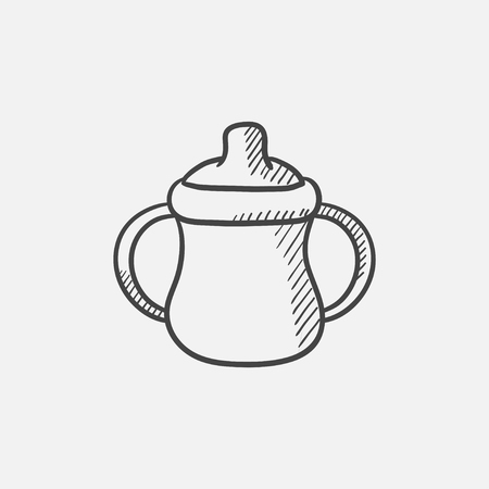 Baby bottle with handles sketch icon for web, mobile and infographics. Hand drawn vector isolated icon. Illustration