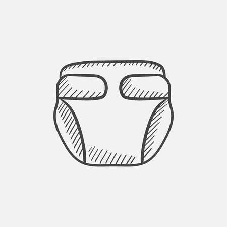 Baby diaper sketch icon for web, mobile and infographics. Hand drawn vector isolated icon.